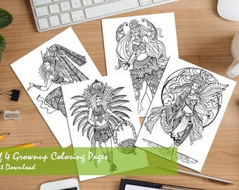 Set of 4 Printable Adult Coloring Book Pages, Coloring Book, Coloring Pages, Adult Coloring Books, Fantasy Fairy Coloring Book, Art therapy