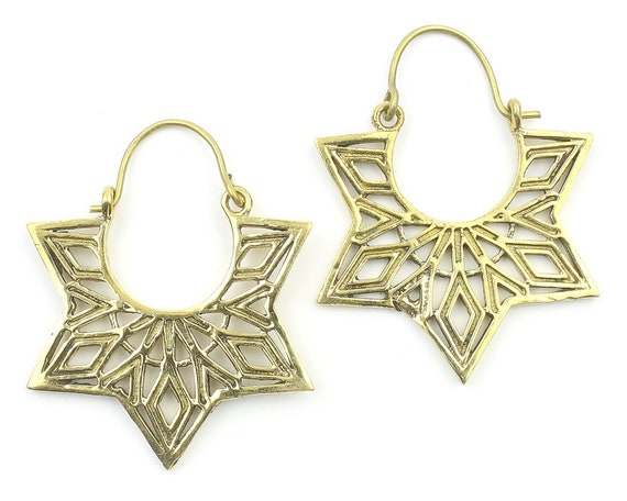 Qena Earrings, Mandala Earrings, Star Earrings, Modern Earrings, Festival, Gypsy Earrings, Ethnic
