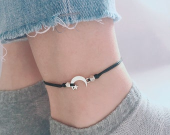 Silver Moon Anklet, Moon Charm Anklet, 6 Size Options, Silver Moon Bracelet, Grunge Moon Anklet, Boho Moon Anklet, Ankle Bracelet