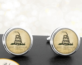 Dont Tread On Me Snake Gadsden Flag on Constitution Background Cufflinks Handmade Cuff Links