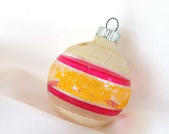 Vintage Shiny Brite Christmas Ornament - Pink and Yellow Striped Unsilvered Holiday Ornament