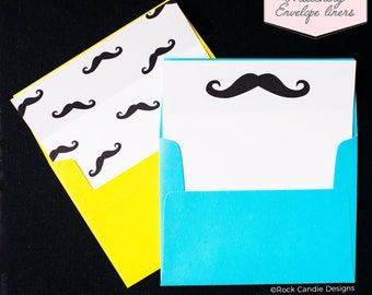 Printed Matching Envelope Liner   A2 Sized Liner   Wedding Liner   Mustache Liner   Card from Groom to Groomsman   I Mustache You a Question