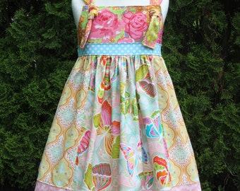 CHELSEA KNOT Dress, Vintage Floral Dress, Girls Birthday Dress, Pink Blue Butterfly Floral Dress, Sister Dresses, Sizes  2T, 3/4T, 5/6, 7/8