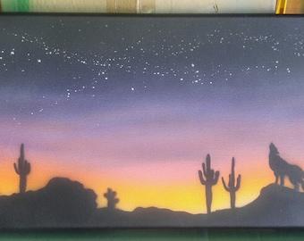 Desert Silhouette Night Sky Airbrush Canvas