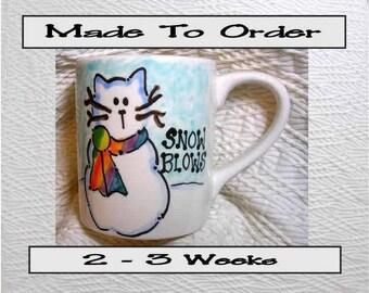 SNOW BLOWS Ceramic Cat Snowman Mug 12 Oz. Handpainted by Grace M. Smith