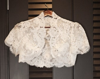Lace Wedding Bolero- Custom Alencon Lace