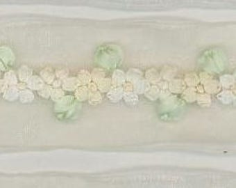 Hand Embroidered Cream Organza Ribbon Flower Trim Antique Vintage Baby Doll Christening Gown