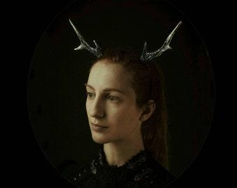 Silver and Black Medium Deer Antlers Headband