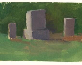 original painting / gouache painting of cemetery