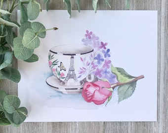 Parisian Eiffel Tower teacup watercolor painting with rose