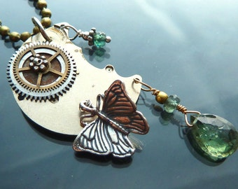 Steampunk Fly to the Moon Butterfly Necklace watch parts gears gold sterling silver with Indicolite tourmaline OOAK jewelry