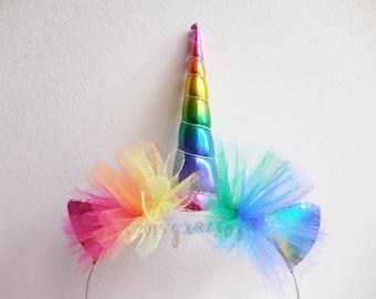 Rainbow Unicorn Headband - Rainbow Unicorn Horn - Rainbow Unicorn Costume