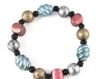 Colorful Beaded Stretch Bracelet, Bracelets for Women, Acrylic Bracelet, Acrylic Jewelry, Multi Colour, Multicolor, Handmade jewelry