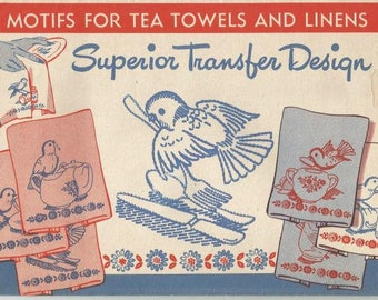 Vintage Hot Iron Transfers Bird Transfers 14 Designs for Tea Towels & Linens Uncut FF Never Used Vintage Sewing Transfers