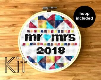 Cross stitch kit, modern cross stitch, mr & mrs hoop 2018
