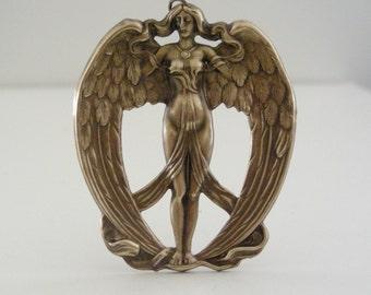 Art Nouveau Pendant - Angel Necklace - Statement Pendant - DIY Neclace  - Angel Pendant -  Vintage Brass Stamping - Large Pendant