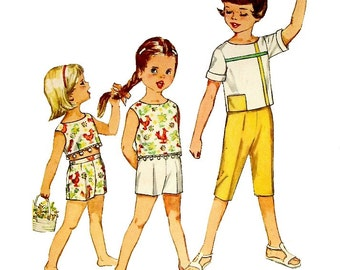 1962 - Simplicity 4462 Vintage Sewing Pattern Girl Size 6 Pants Shorts Top Back Buttons Cropped Sleeveless Short Sleeve