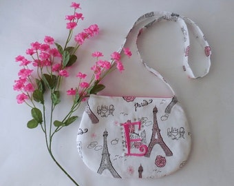 Toddler and little girl's cross body purse in Paris print fabric personalized
