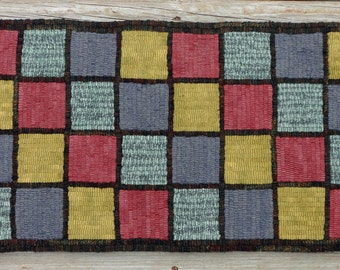 Primitive Rug Hooking - Hand Hooked Rug with Hand Dyed and Mill Dyed Wool (Free Shipping in USA)