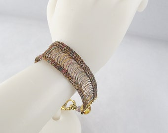 Wire Knit Bracelet with Crystals and Celtic Toggle Clasp