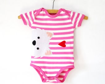 Westie Baby Bodysuit : West Highland Terrier Baby Gift , Westie Baby Gift