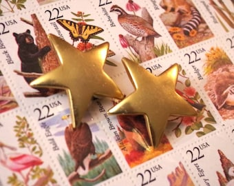 Large Gold Star Clip On Earrings