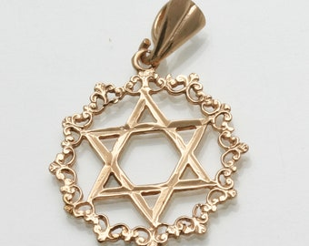 Vintage 14k rose gold Jewish Star of David Pendant Wreath Border Judaica Estate
