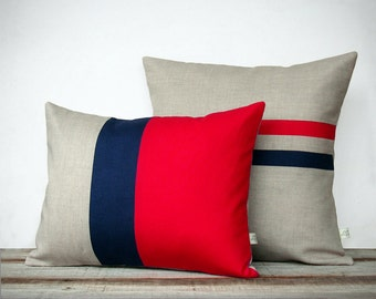 Poppy Red and Navy Pillow Set: Color Block Pillow (12x16) Striped Pillow (16x16) by JillianReneDecor   Modern Home Decor   Colorblock