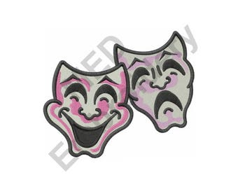 Comedy And Tragedy - Machine Embroidery Design, Drama, Theater, Masks