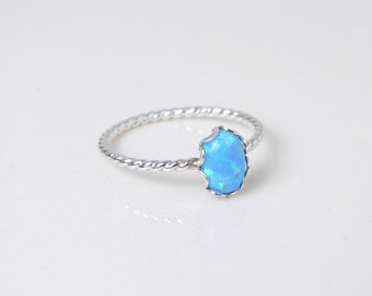 Blue Opal Ring. Small Oval Opal. Sterling Silver Twisted Ring. Bridesnaid Gift. Simple Modern Jewelry by PetitBlue