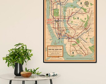 New York City subway system map - NYC subway map, vintage map restored, fine print