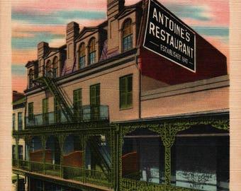 Antoine's Restaurant + New Orleans, Louisiana + Vintage Linen Postcard