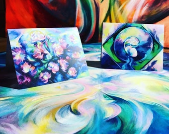 "Greeting Card Set ~ ""Nautilus"" and ""Lotus Heaven"" ~ Visionary Art ~ Visionary ~ Floral ~ Note Card ~ Thank You Card ~ Invitation"