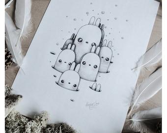 PRINT Fine ART Drawing Illustration Pencil Drawing Graphite Nursery Home DECORATION Postcard Kawaii - Peek-A-Bunny