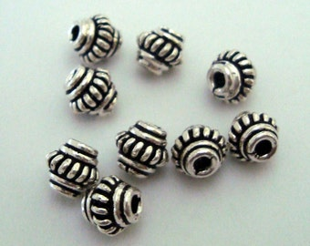20 small rope Rondelle Bali Sterling Silver Spacers 5mm S72