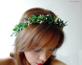 Greenery crown leaf Bridal halo leaves Crown hair greenery Wreath hair woodland Bridal rustic crown Leaf halo grecian Headpiece greek green