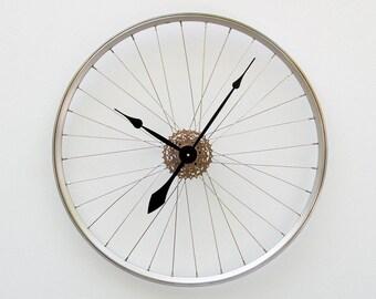 Bike Wheel Clock, Large Wall Clock, Cyclist Gift, Unique Wedding Gift, Steampunk Decor, Bicycle Wall Clock, Modern Wall Clock , road bike