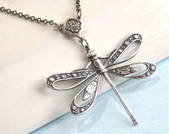 Silver Cutout Dragonfly Necklace - Dragonfly Jewelry