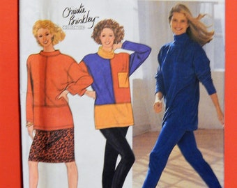 Vintage Christie Brinkley Collection pattern Simplicity 9870 Pants, skirt and tunic pattern sized for stretch knits Uncut Sizes petite to XL