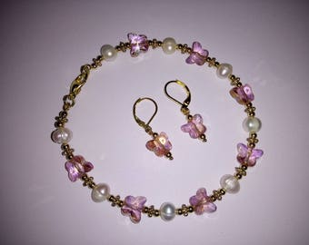 bracelet and earrings with cultured pearls and Butterfly
