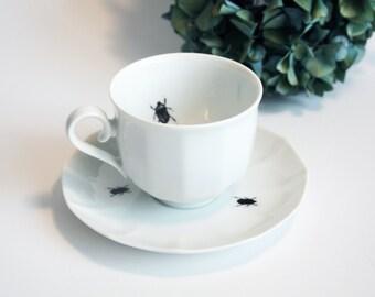 Tea cup Beetles, Screenprint, black and white, tea tableware, nature print, tableware
