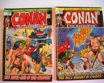 Marvel Comics, Conan the Barbarian, issue 17 1972, issue 15 1972, comic books, vintage