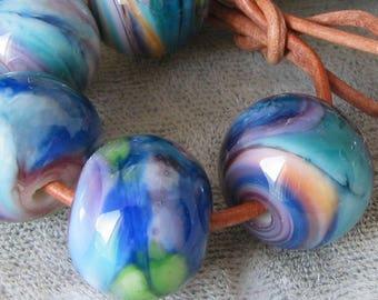 Tropical frit Spacer fait main de coucher de soleil au chalumeau perles de verre bleu vert orange violet rose 2-6 perle ensembles