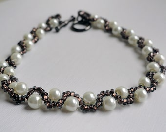 Woven bracelet - cream pearl bracelet - beaded bracelet - copper bead bracelet - wave bracelet - beadweave bracelet - brown bead bracelet