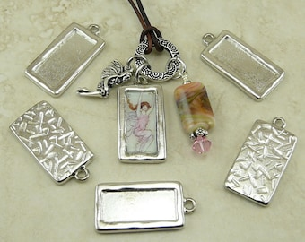 5 TierraCast DIY Simple Rectangle Frame Charms > Photo Assemblage - TierraCast Rhodium Plated Lead Free Pewter - I ship Internationally 2263