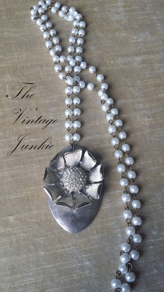 The Vintage Junkie...Long Layering Silver Spoon and Vintage Glass Pearl Necklace with Upcycled  Brooch