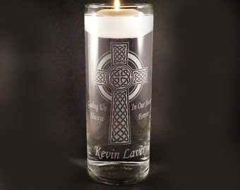 Custom Wedding Memorial Candle - Celtic Cross Memorial Candle Vase w/ Floating Candle - Personalized Memorial Vase - Loved Ones In Heaven