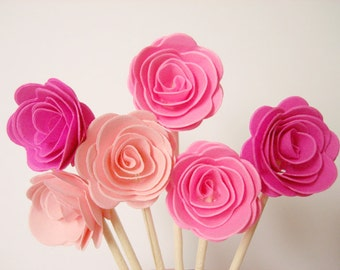 Set of 24Pcs - 3D 'ROSE ' Party Picks, Cupcake Toppers, Toothpicks, Food Picks (Baby Pink, Shocking Pink, Hot Pink)