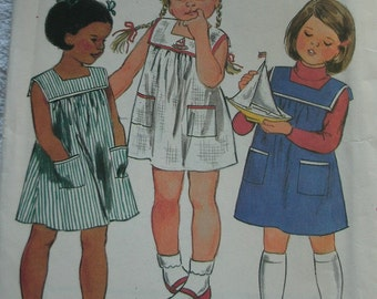 Girls Dress Size 5 Vintage Butterick Fast & Easy Pattern #3687 - UNCUT 1980's Vintage Pattern