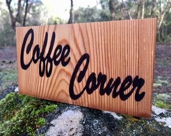 Reclaimed Douglas Fir Wooden Coffee Corner Sign - Free Standing  Wooden Coffee Sign